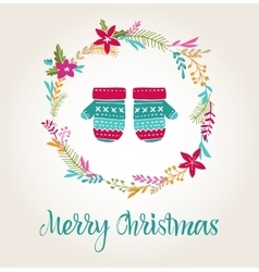 Knitted mittens xmas background merry christmas vector