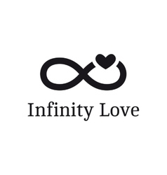 Trendy infinity sign with heart logotype vector