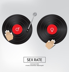 Sex rate background sex by music isolated vector