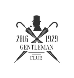 Gentleman club label design with crossed umbrellas vector