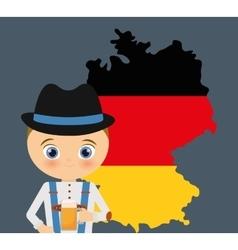 Beer boy cartoon hat oktoberfest map icon germany vector