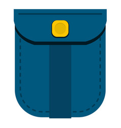 Blue shirt pocket with yellow button icon isolated vector