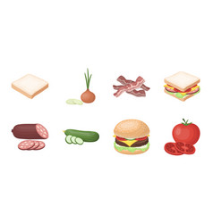 burger and ingredients icons in set collection for vector image