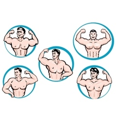 Cartoon bodybuilders show a muscles vector image vector image