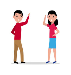 Cartoon man woman quarrel couple angry vector