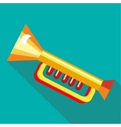 Children plastic trumpet icon flat style vector
