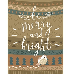 Christmas card be marry and bright hand drawn vector