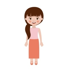 Cute girl with side ponytail vector
