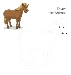 Draw the animal horse educational game vector image vector image