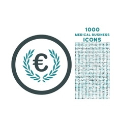 Euro glory rounded icon with 1000 bonus icons vector