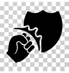 Fist strike shield icon vector