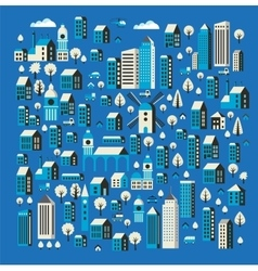 Flat colored building vector image