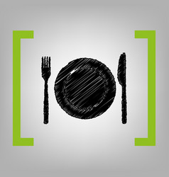 fork knife and plate sign black scribble vector image