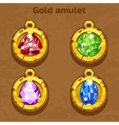 golden old amulet with color jewels different vector image vector image