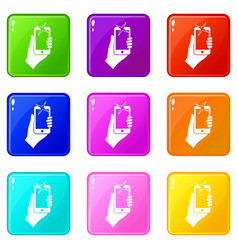 Hand photographed on mobile phone icons 9 set vector