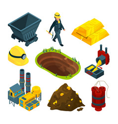 isometric tools for mining industry vector image vector image
