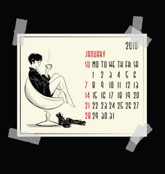january calendar with fashion girl vector image