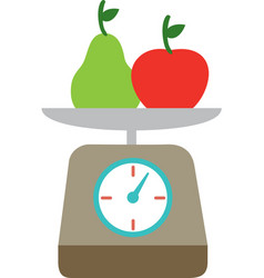 kitchen scale fruits isolated vector image
