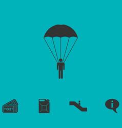 Parachutist icon flat vector