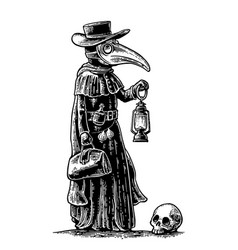 Plague doctor with bird masksuitcase lantern vector
