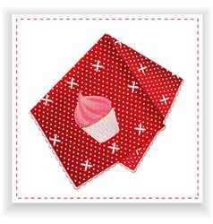 Red handkerchief with printed cupcake vector