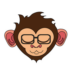 Relaxed or in bliss cute expressive monkey wearing vector