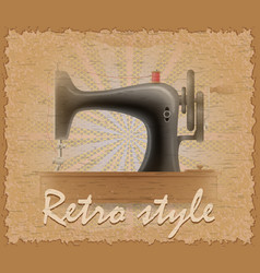 Retro style poster old sewing machine vector
