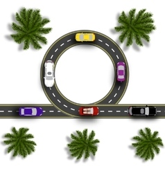 Road with a marking cars realistic tree top view vector