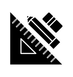 rule pen and eraser - graphic tools icon vector image