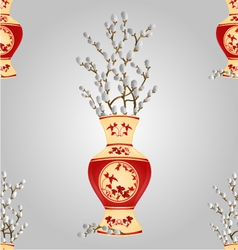 Seamless texture vase with branch pussy willow vector
