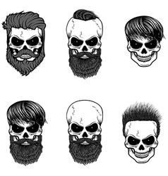 Set of bearded skulls skulls with beard and hair vector image