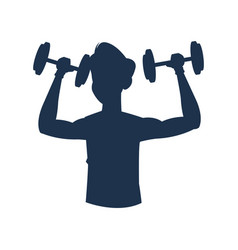 Silhouette fitness man workout sport vector