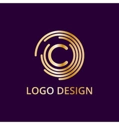 Stock logo letter c of gold vector image vector image