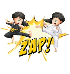 Two girls doing martial arts vector image