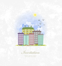Vintage invitation card with cute city vector