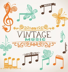 Vintage music design elements vector