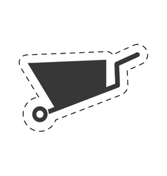 Wheelbarrow mine equipment pictogram cut line vector