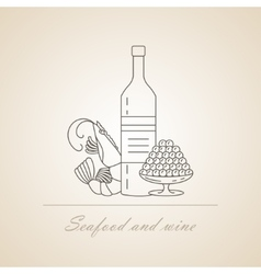 Wine with sea delicacies vector