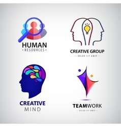 set of man logo creative group hr vector image