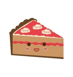 Cake kawaii dessert cute sweet food icon vector