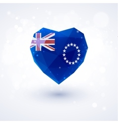 Flag of cook islands in shape diamond glass heart vector