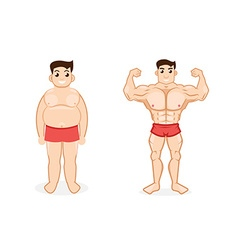 Man before and after fitness vector
