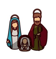 Mary joseph and jesus of holy night design vector