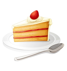 A slice of cake with white icing in a plate vector