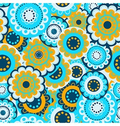 Abstract flowers in seamless pattern vector image