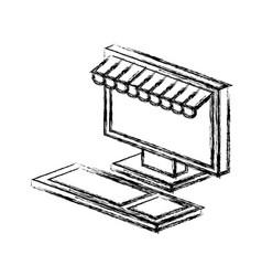 Computer desktop with parasol icon vector