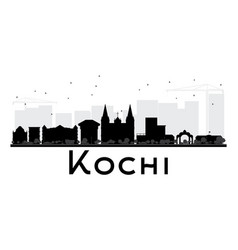 Kochi city skyline black and white silhouette vector