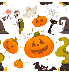 Seamless pattern of cartoon halloween objects vector