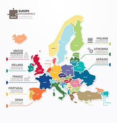 Europe map infographic template jigsaw concept vector