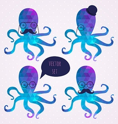 Set with octopus mustaches hipster card vector